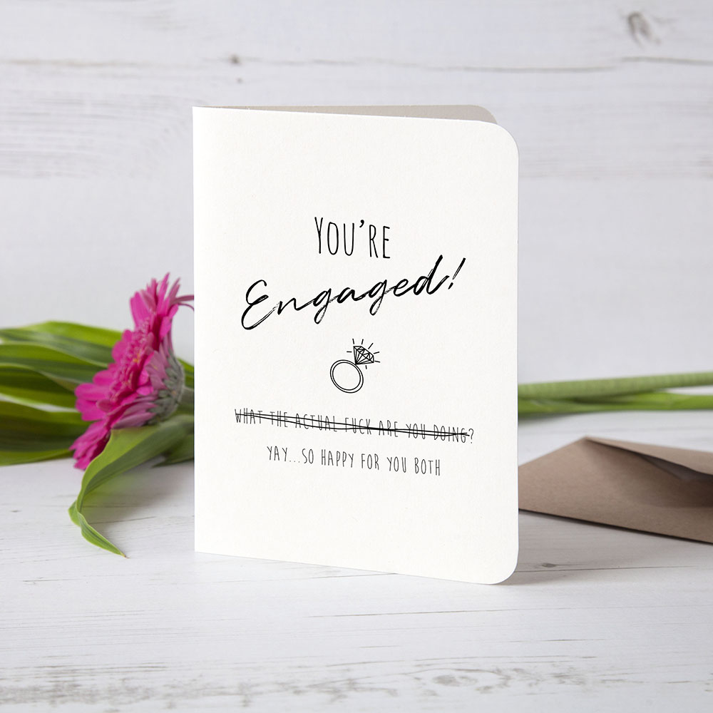 Yay, so happy for you - Funny Engagement Card