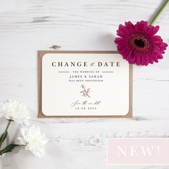 'Pink Botanical PB11' Change the Date - Postponed Card