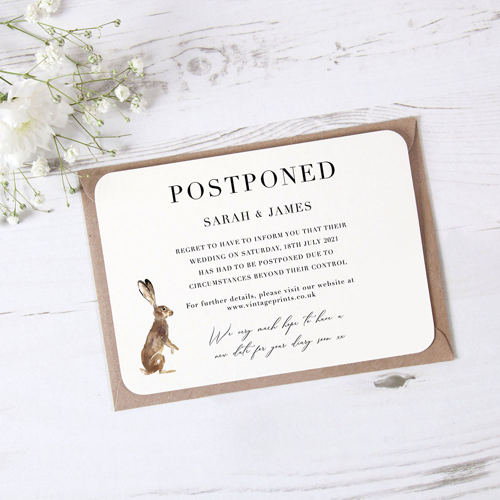 'Christmas Hare' Change the Date - Postponed Card
