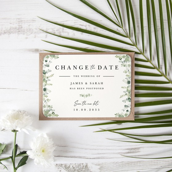 'Classic Eucalyptus CE10' Change the Date - Postponed Card