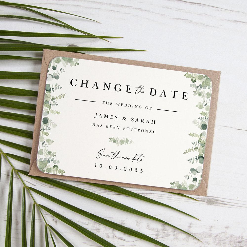 'Classic Eucalyptus CE10' Change the Date - Postponed Card