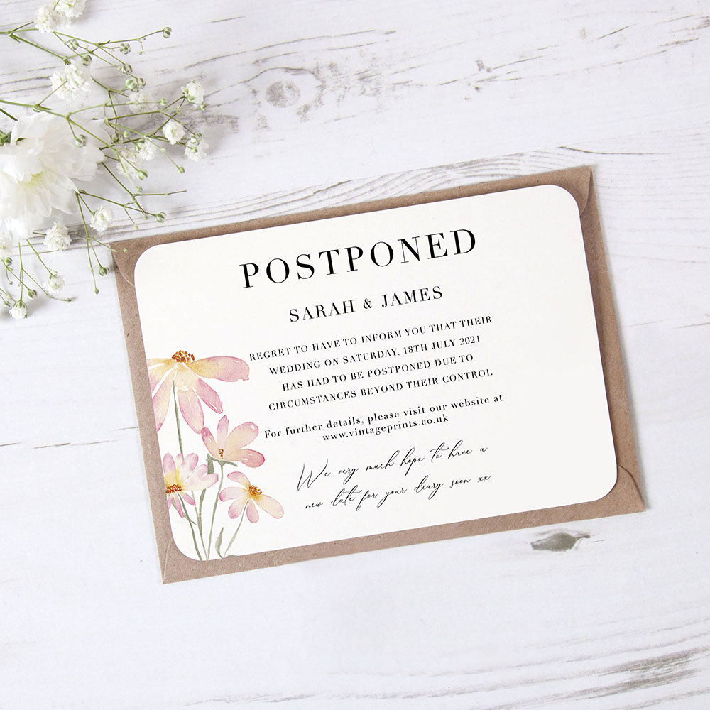'Daisy Pink' Change the Date - Postponed Card