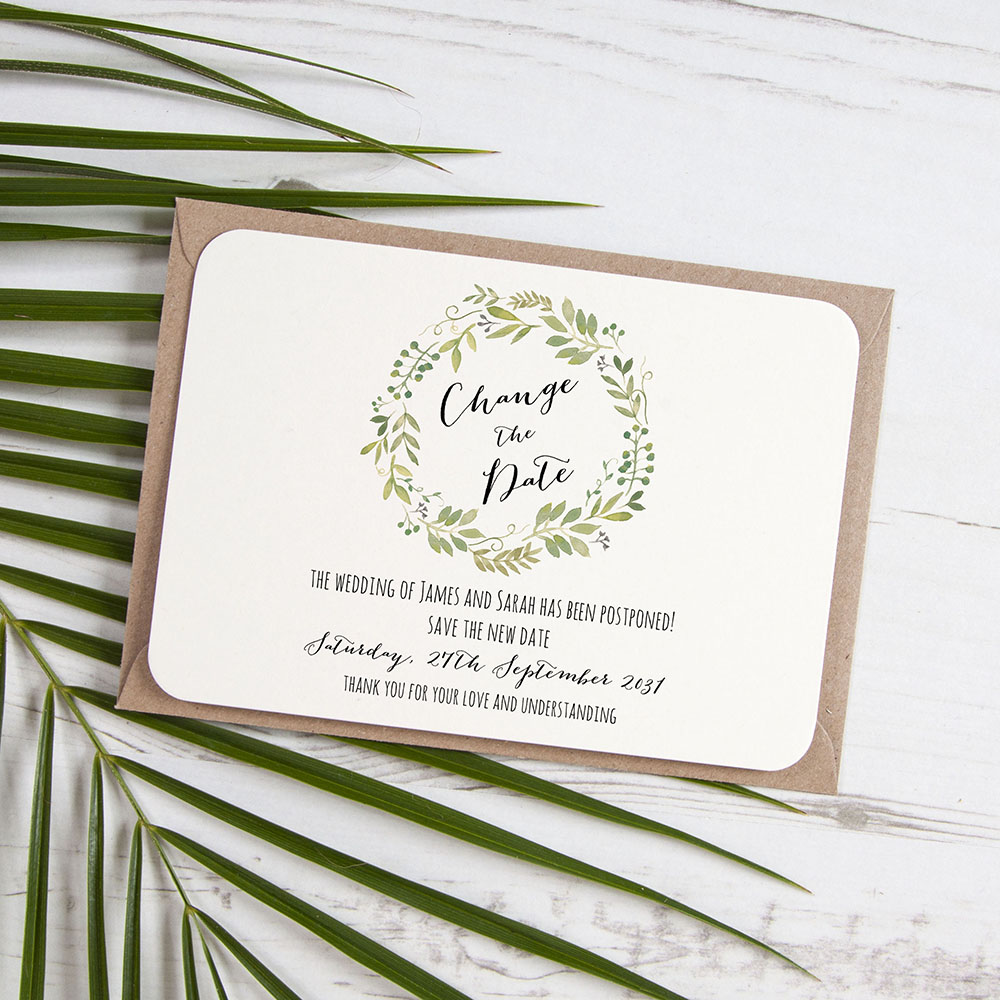 'Green Floral Watercolour' Change the Date Sample Card