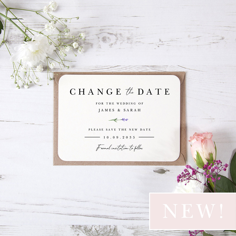 'Lavender L11' Change the Date - Postponed Card