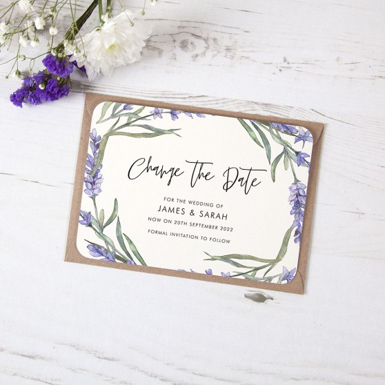 'Lavender' Change the Date - Postponed Card