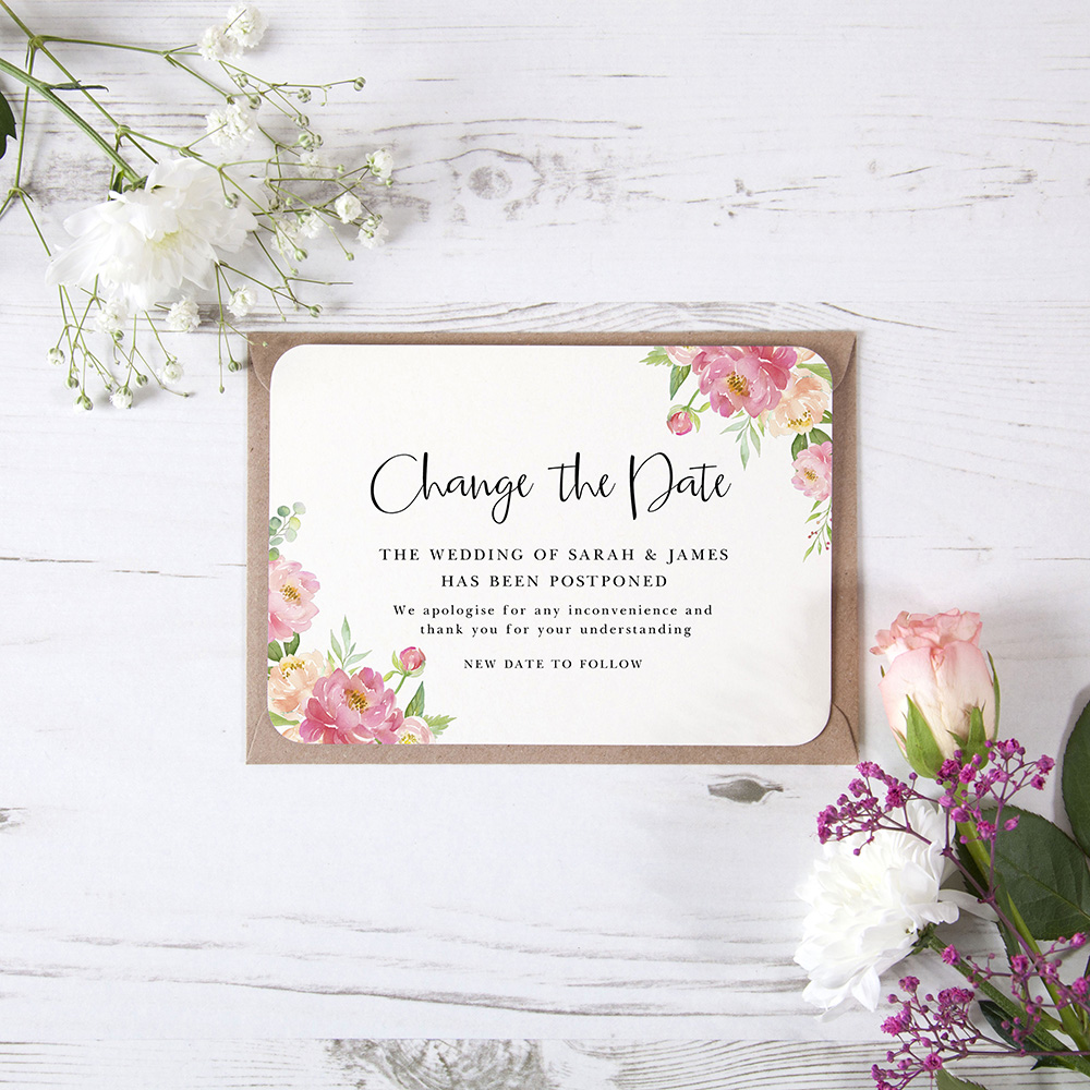 'Peony' Change the Date - Postponed Card