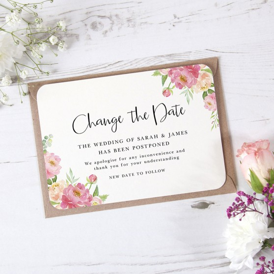 'Peony' Change the Date - Postponed Card