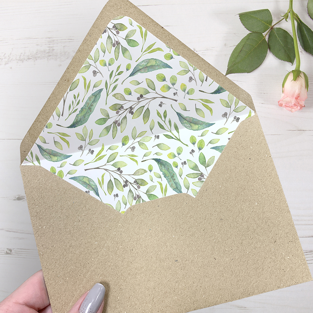 'Arabella' Printed Envelope Liner Sample with Envelope