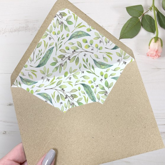 'Arabella' Printed Envelope Liner with Envelope