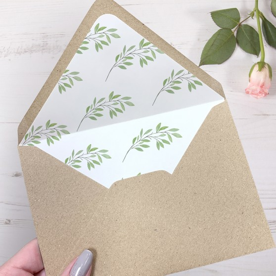 'Autumn Green' Printed Envelope Liner Sample with Envelope