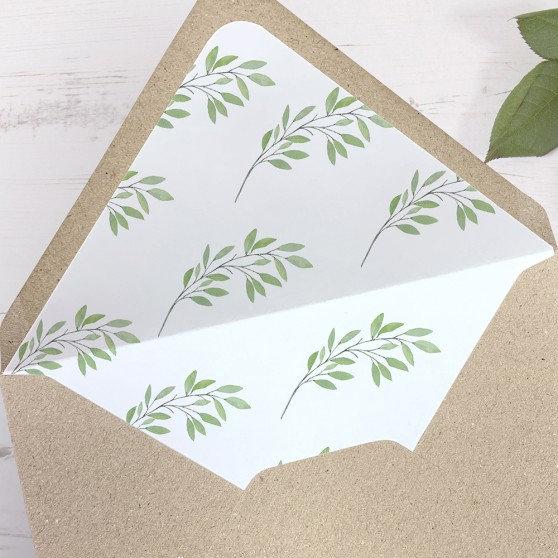 'Autumn Green' Printed Envelope Liner with Envelope