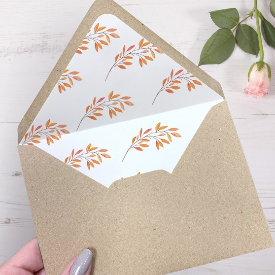 'Autumn Orange' Printed Envelope Liner Sample with Envelope