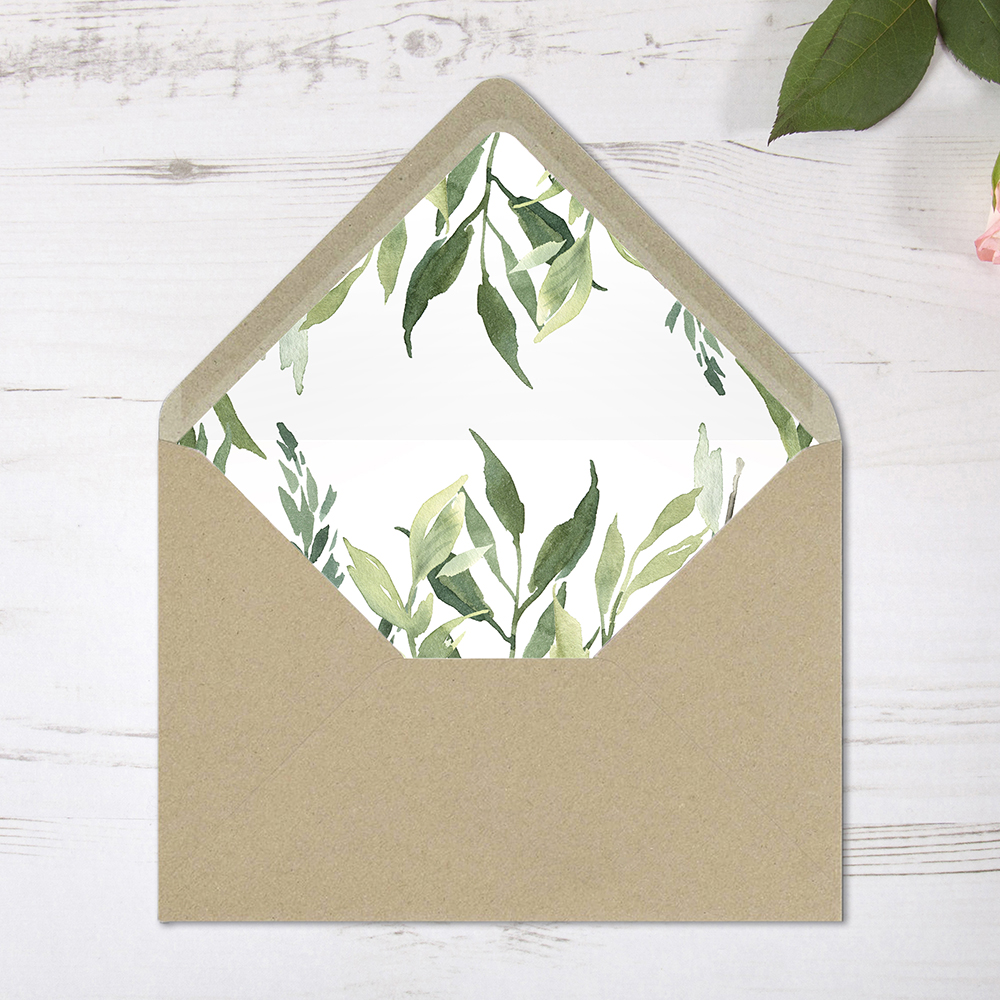 'Back to Nature' Printed Envelope Liner Sample with Envelope