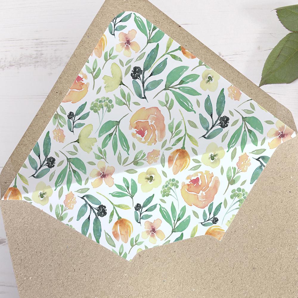 'Bella' Printed Envelope Liner Sample with Envelope