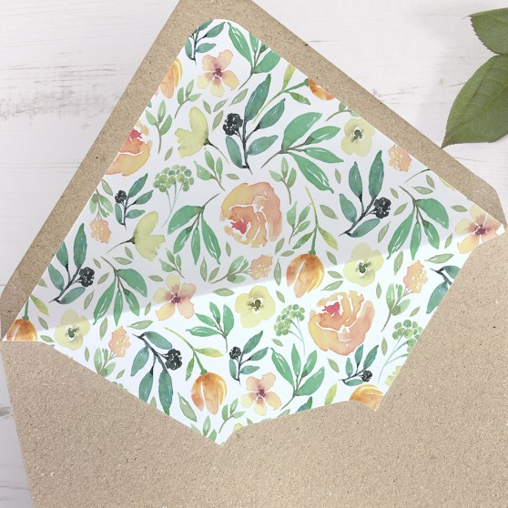 'Bella' Printed Envelope Liner Sample with Envelope