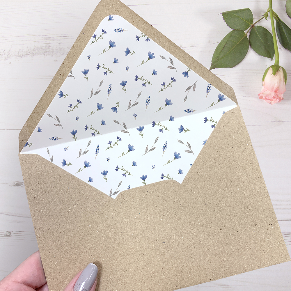'Blue Floral Watercolour' Printed Envelope Liner Sample with Envelope