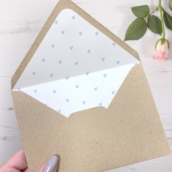'Pale Blue Heart' Printed Envelope Liner Sample with Envelope