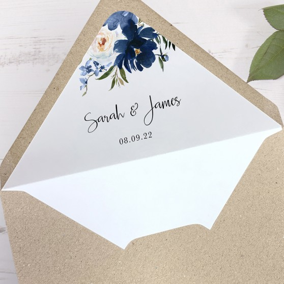 'Blue Velvet' Printed Envelope Liner with Envelope