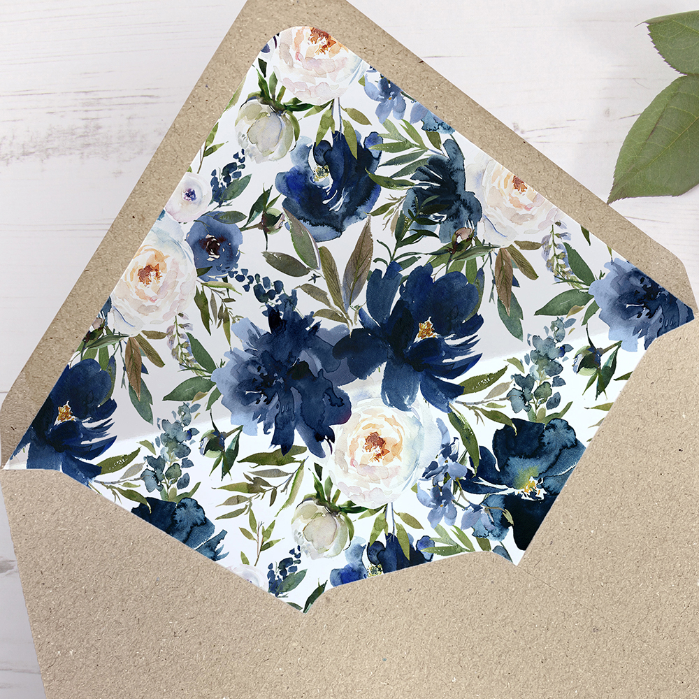 'Blue Velvet' Printed Envelope Liner Sample with Envelope