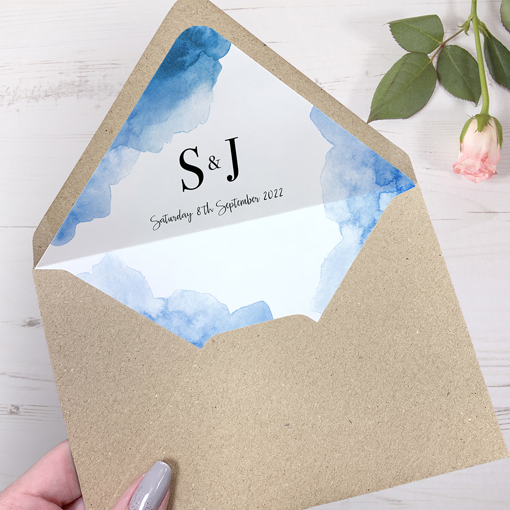 'Blue Watercolour Splash' Sleeve Invite Sample