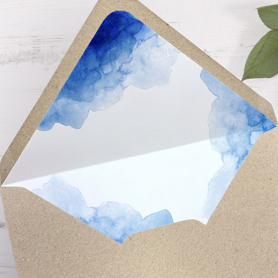 'Blue Watercolour Splash' Printed Envelope Liner with Envelope