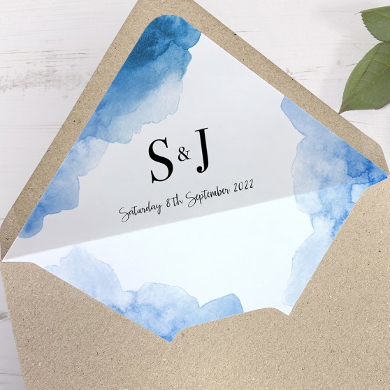 'Blue Watercolour Splash' Printed Envelope Liner Sample with Envelope