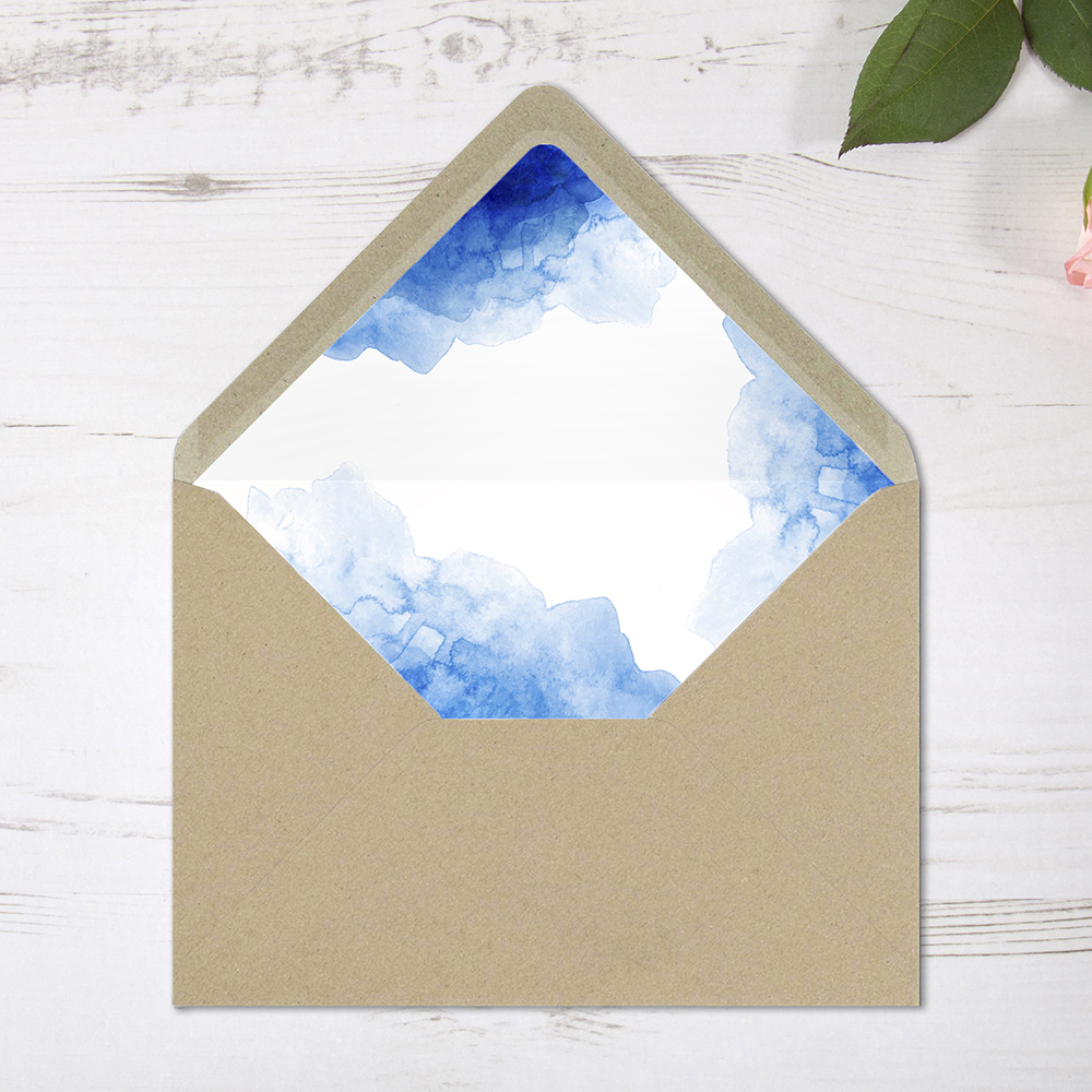 'Blue Watercolour Splash' Printed Envelope Liner with Envelope