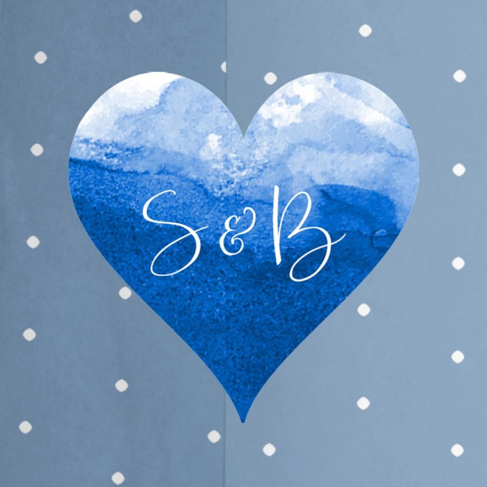 'Blue Splash Watercolour' Standard Wedding Invitation Sample