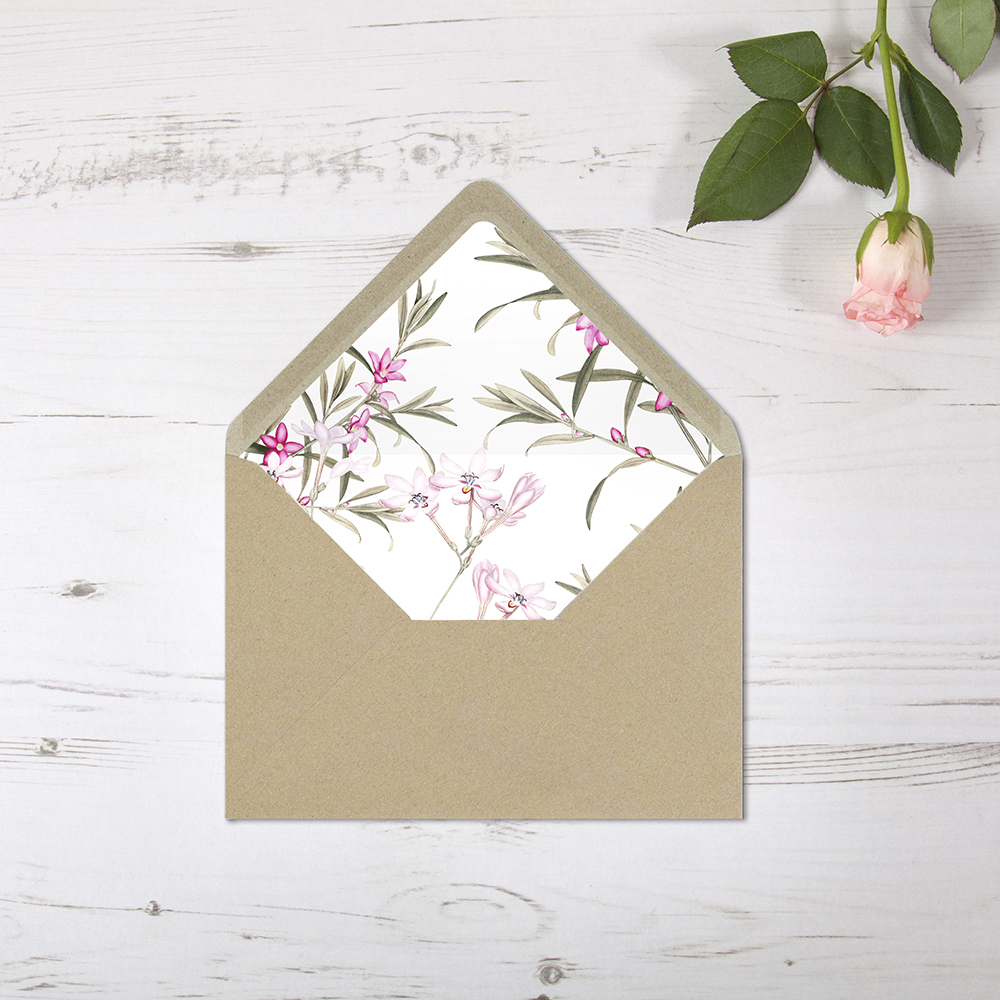 'Pink Botanical' Printed Envelope Liner Sample with Envelope