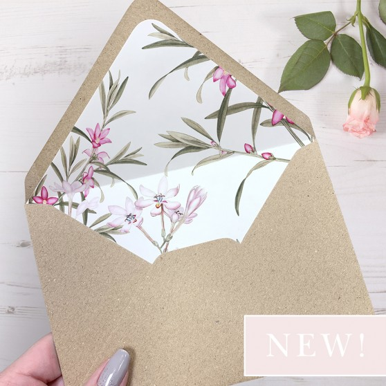 'Pink Botanical' Printed Envelope Liner with Envelope