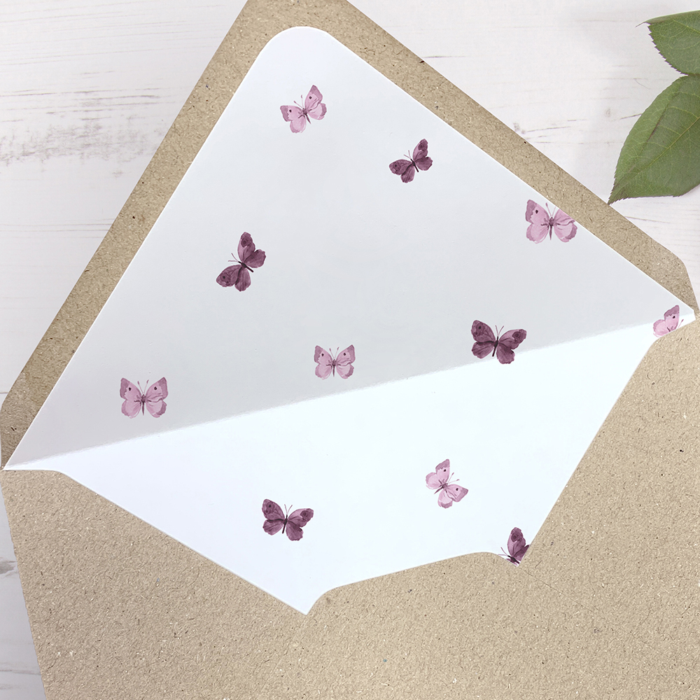 'Butterfly' Printed Envelope Liner Sample with Envelope