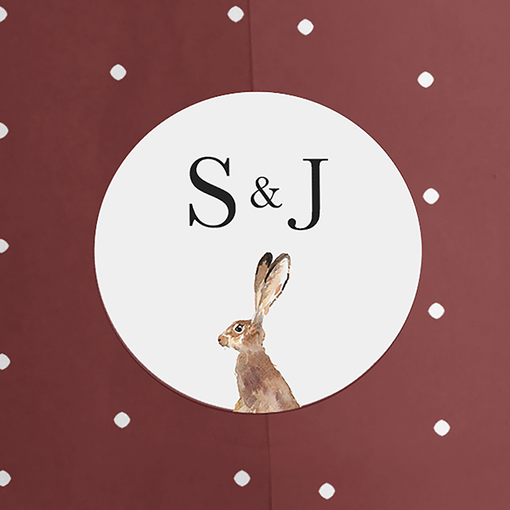 'Christmas Hare' Tri Fold Wedding Invitation Sample