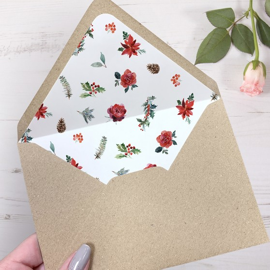 'Christmas Holly' Printed Envelope Liner Sample with Envelope