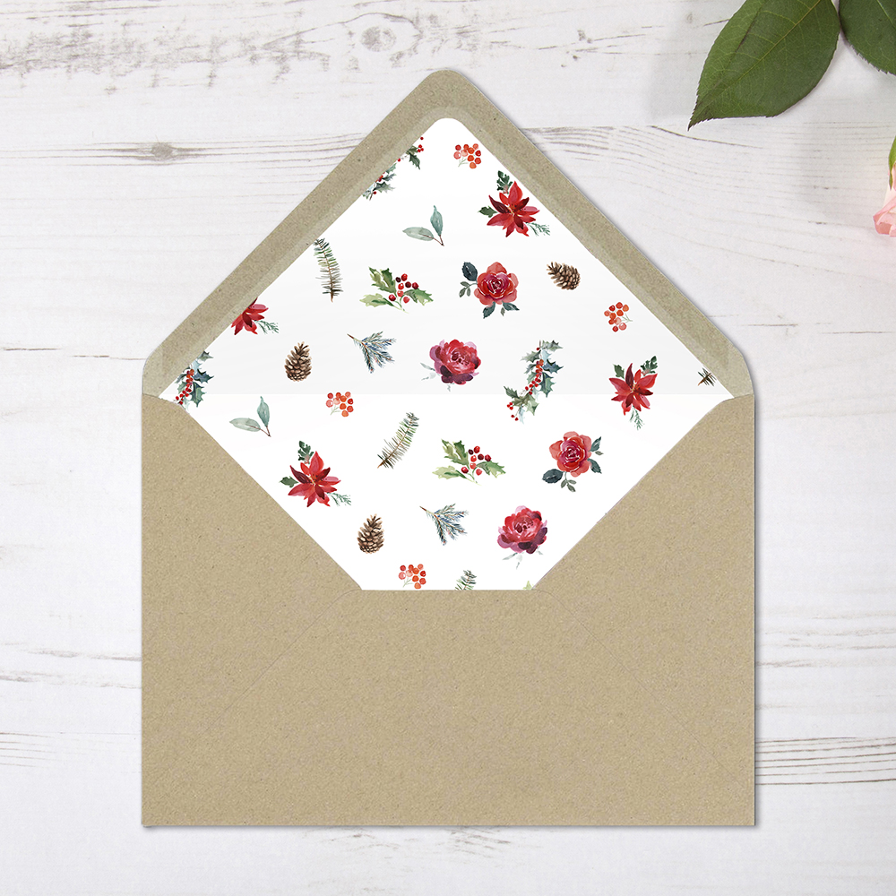 'Christmas Holly' Printed Envelope Liner with Envelope