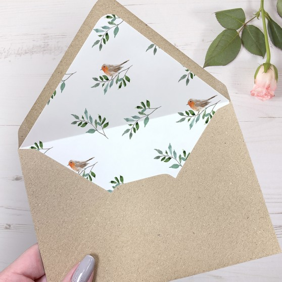 'Christmas Robin' Printed Envelope Liner Sample with Envelope