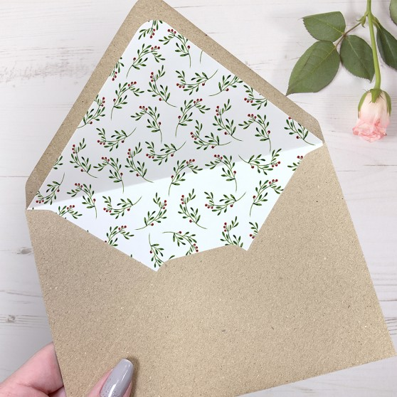 'Christmas' Printed Envelope Liner with Envelope