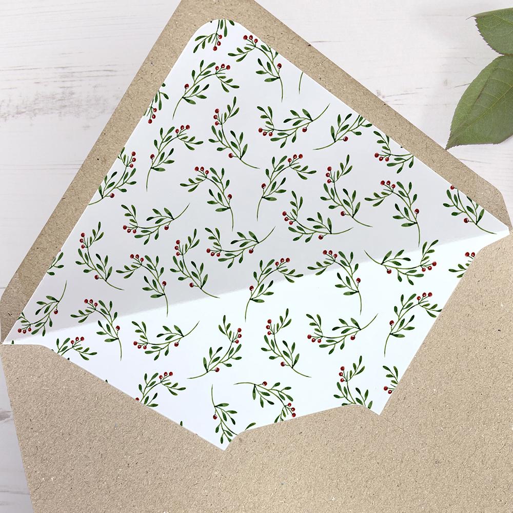 'Christmas' Printed Envelope Liner Sample with Envelope