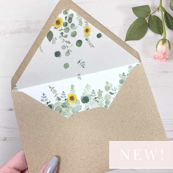'Classic Eucalyptus Sunflower' Printed Envelope Liner Sample with Envelope