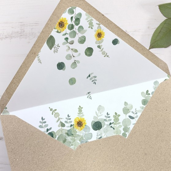 'Classic Eucalyptus Sunflower' Printed Envelope Liner with Envelope