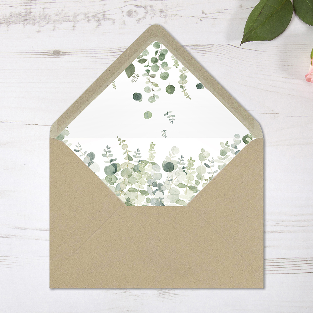 'Classic Eucalyptus' Printed Envelope Liner with Envelope