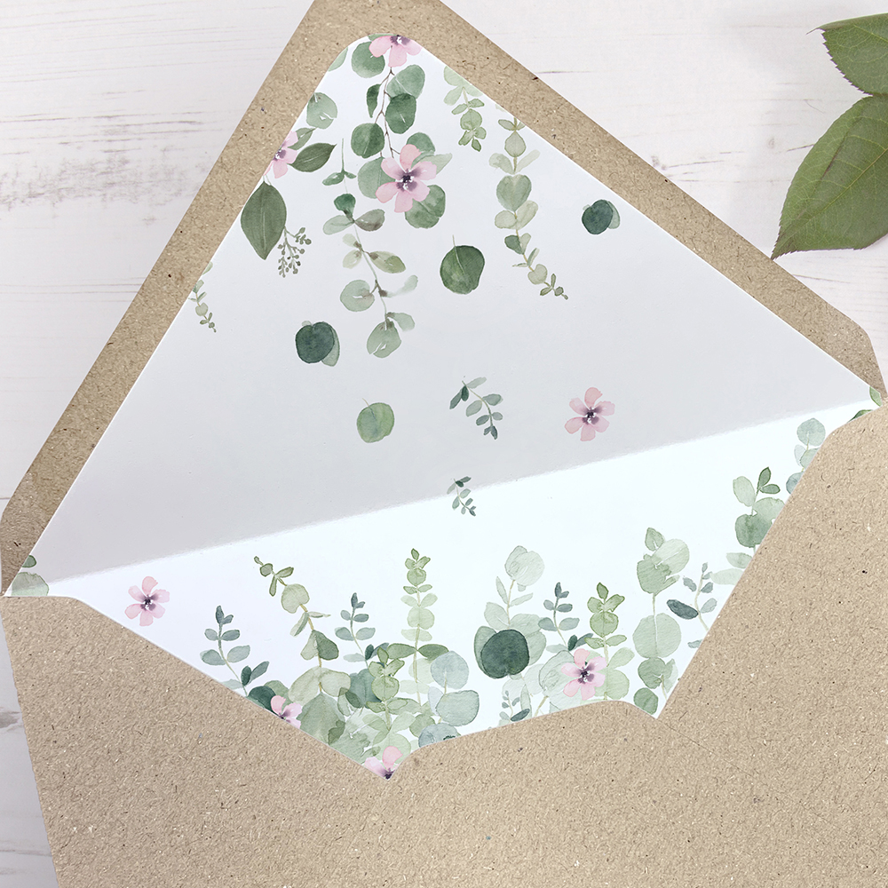 'Floral Classic Eucalyptus' Printed Envelope Liner Sample with Envelope