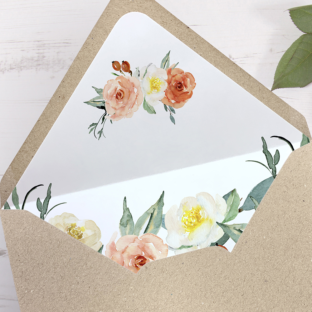 'Dahlia Rose' Printed Envelope Liner with Envelope