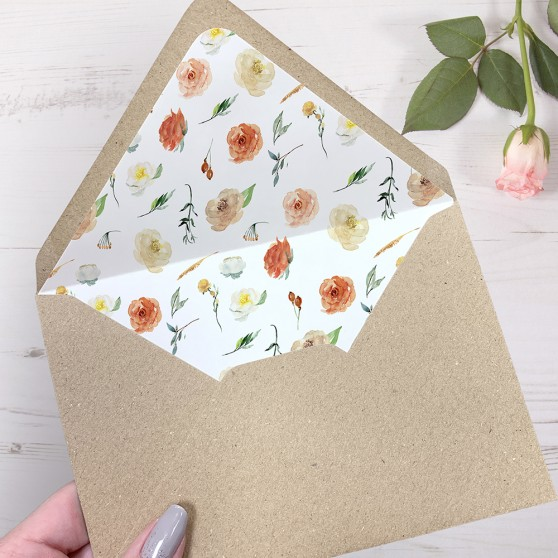 'Dahlia Rose Multi' Printed Envelope Liner Sample with Envelope