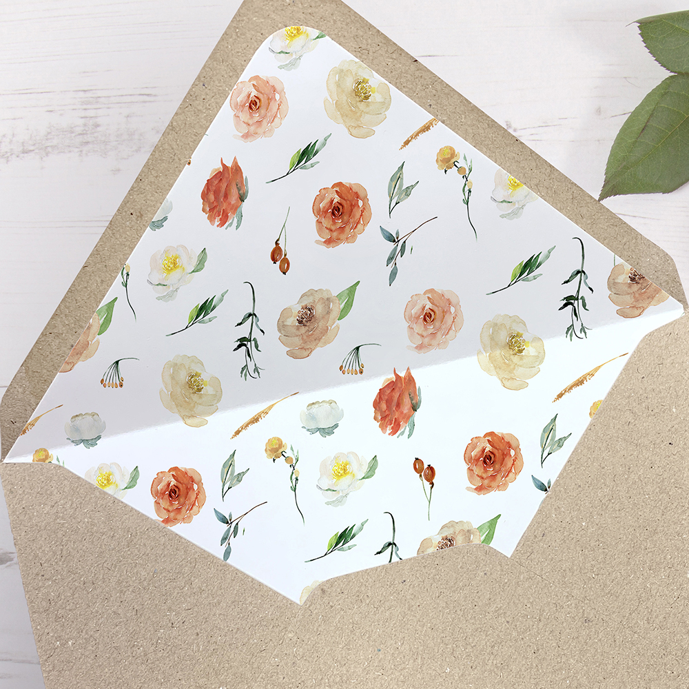 'Dahlia Rose Multi' Printed Envelope Liner with Envelope