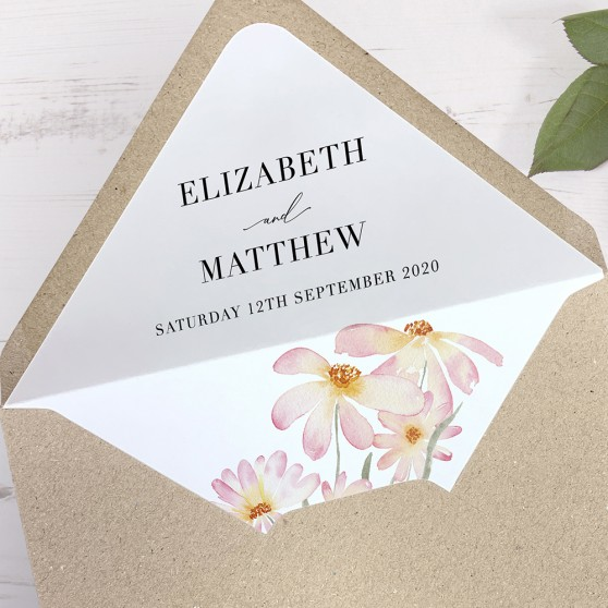 'Daisy Pink' Printed Envelope Liner Sample with Envelope