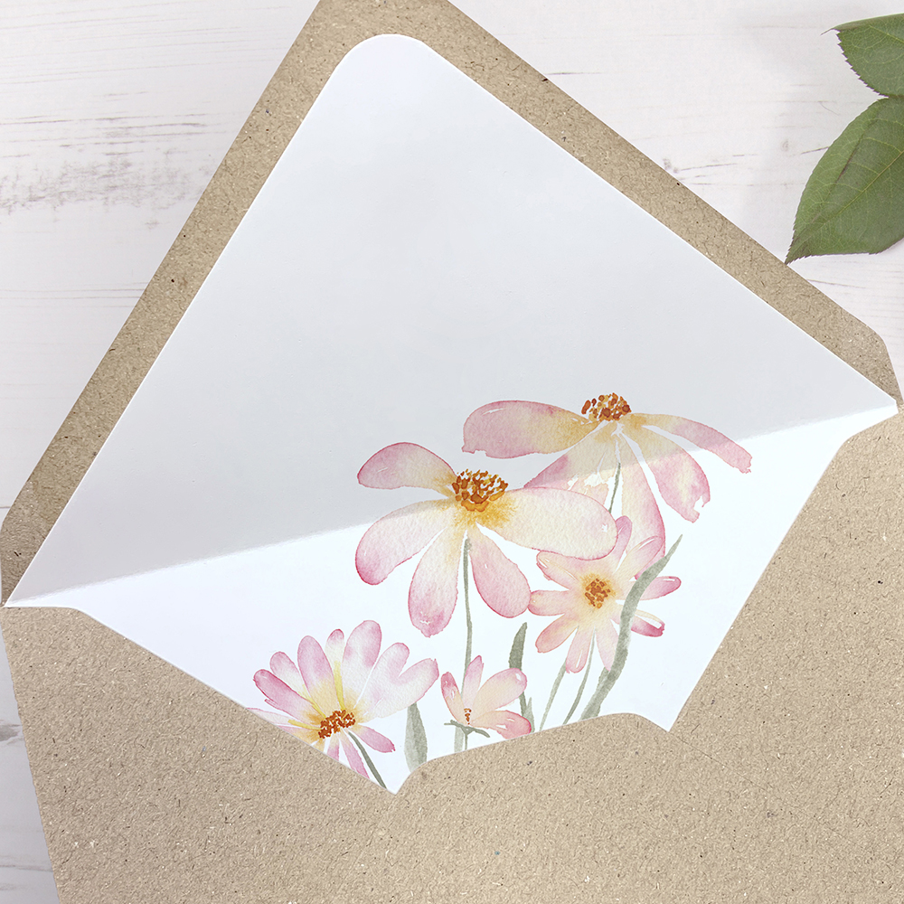 'Daisy Pink' Printed Envelope Liner with Envelope