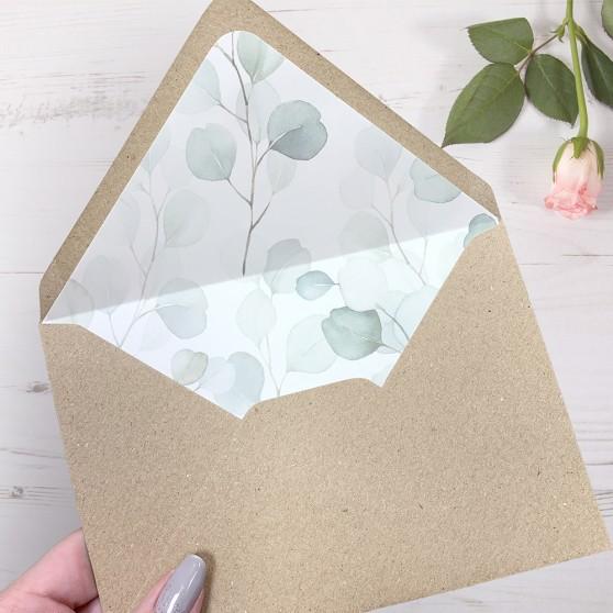 'DE12 Dreamy Eucalyptus' Printed Envelope Liner Sample with Envelope