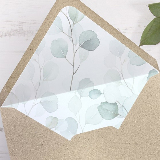 'DE12 Dreamy Eucalyptus' Printed Envelope Liner Sample with Envelope
