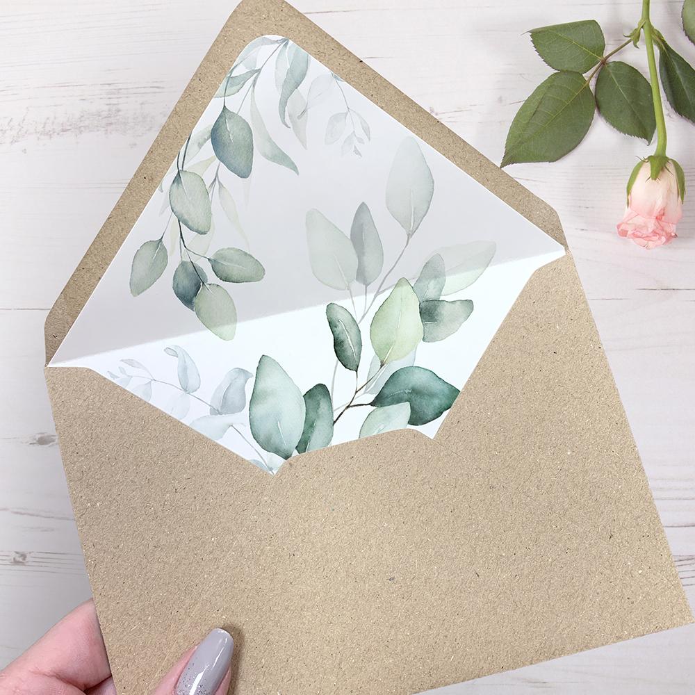 'DE10 Dreamy Eucalyptus' Printed Envelope Liner with Envelope