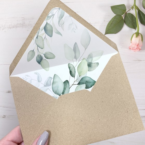 'DE10 Dreamy Eucalyptus' Printed Envelope Liner Sample with Envelope